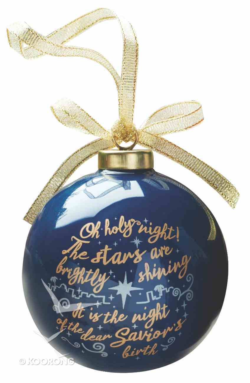 Christmas Porcelain Ornament: Oh Holy Night (Blue Ball With Gold Lettering) Homeware