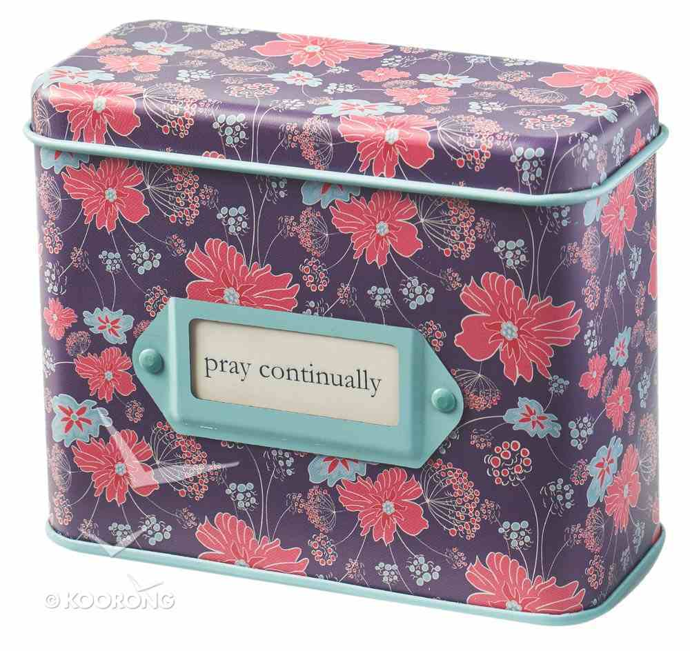 Prayer Cards in Tin Box: Pray Continually, Purple Floral Box