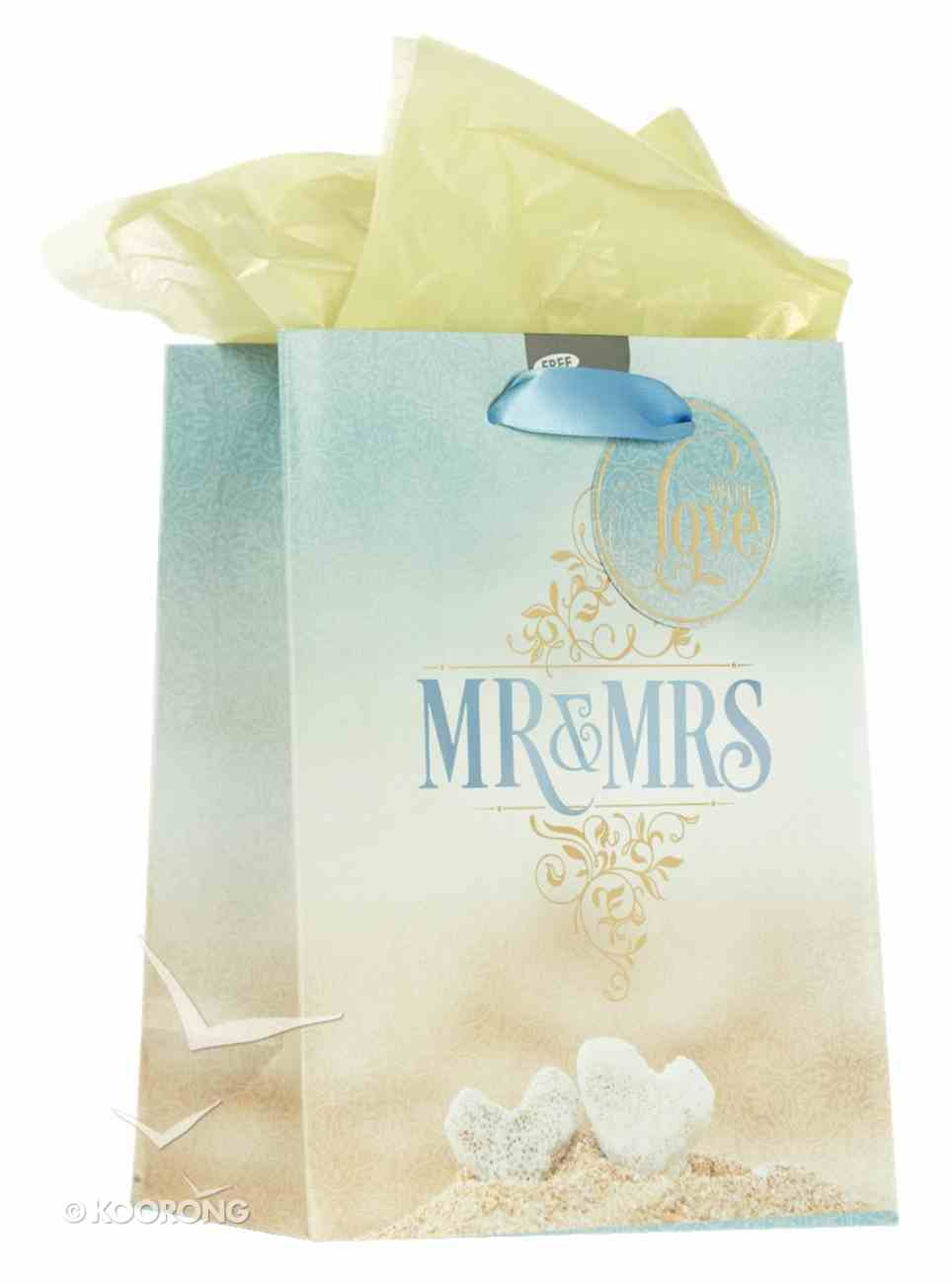 Gift Bag Medium: Mr & Mrs, Incl Tissue Paper and Gift Tag Stationery