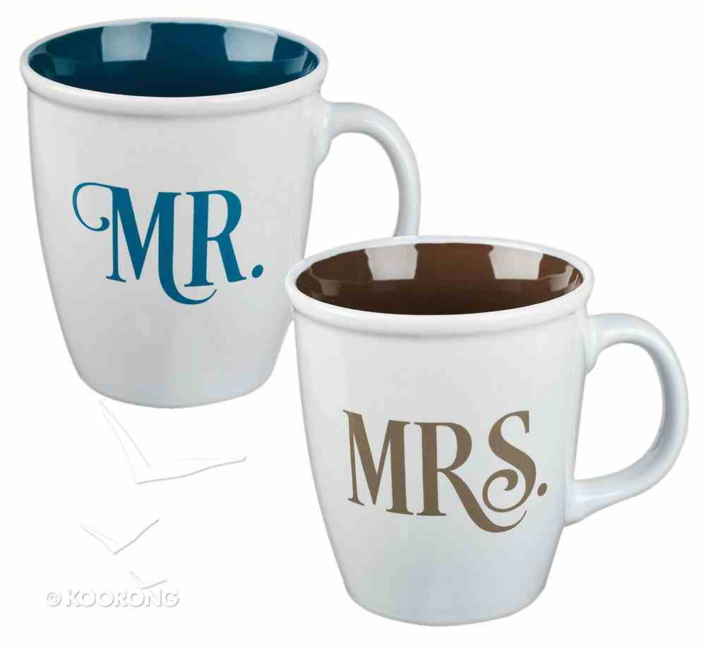 Ceramic Mugs 414ml: Mr & Mrs White With Blue & Gold (Set Of 2) Homeware