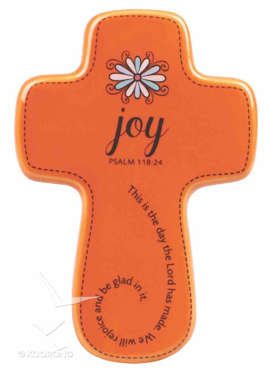 Ceramic Wall Cross: Filled With...Joy, Orange, Small (Psalm 118:24) Homeware