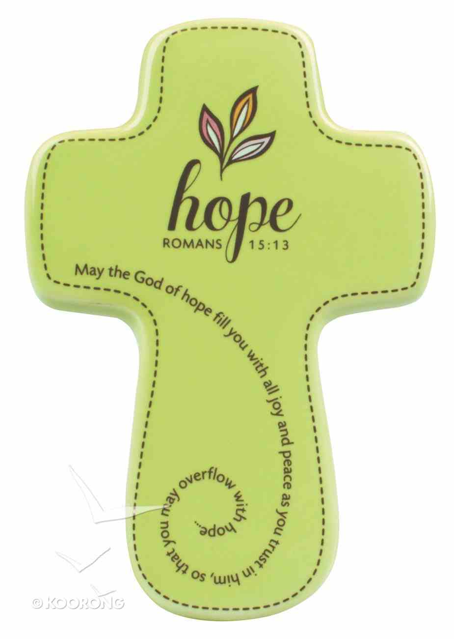 Ceramic Wall Cross: Filled With....Hope, Olive, Small (Romans 15:13) Homeware