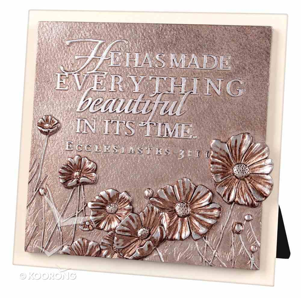 Plaque Moments of Faith Sculpture: Flowers, Small Square Cast Stone, Mdf Base (Ecc 3:11) Plaque