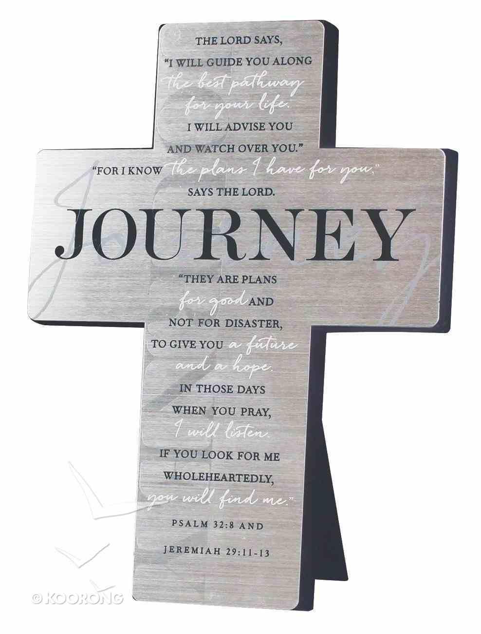 Metal Desktop Cross: Journey, Silver Printed (Psalm 32:8 & Jer 29:11-13) Homeware