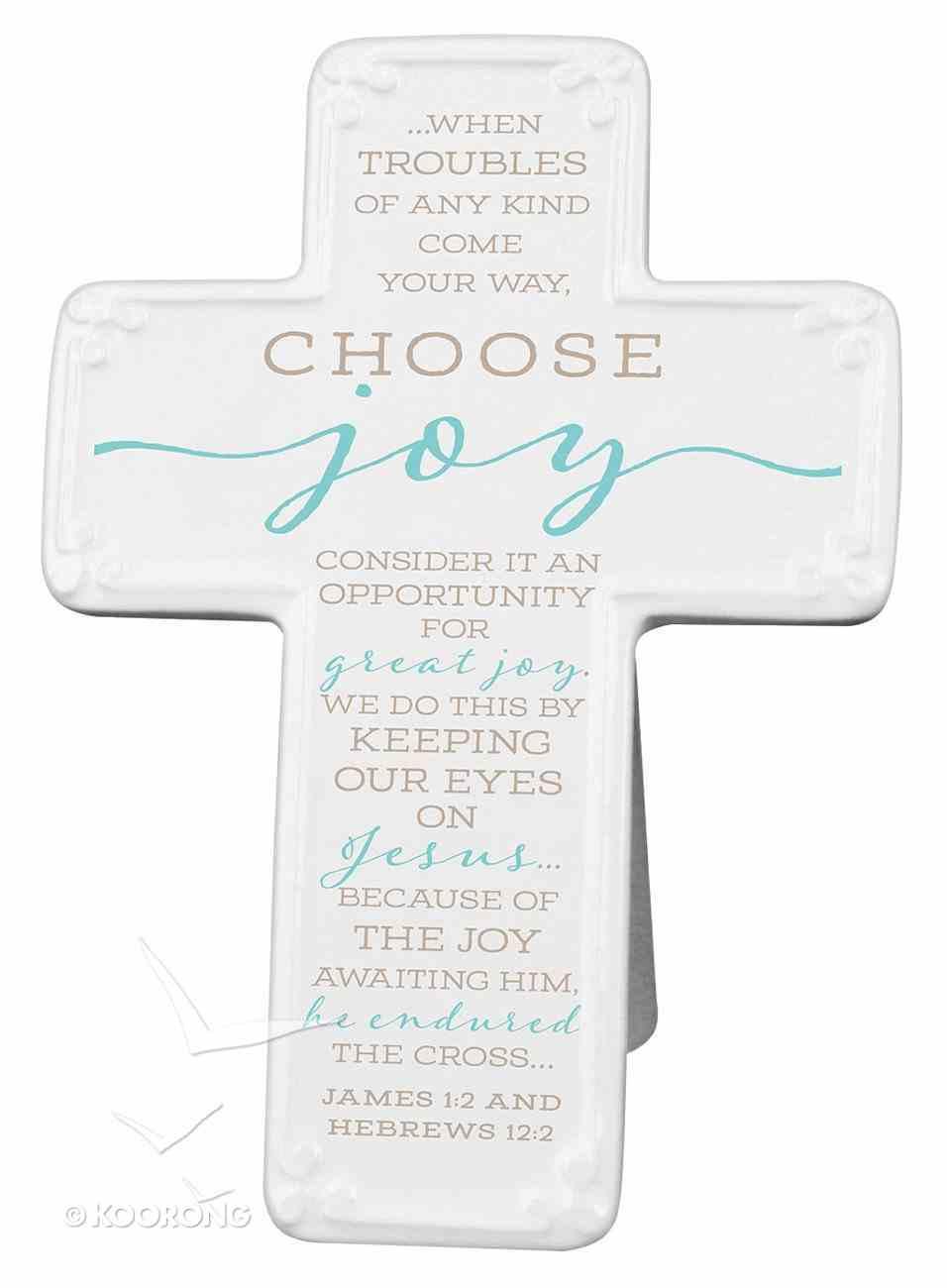 Ceramic Cross: Choose Joy, Light Blue/White (James 1:2 & Heb 12:2) Homeware