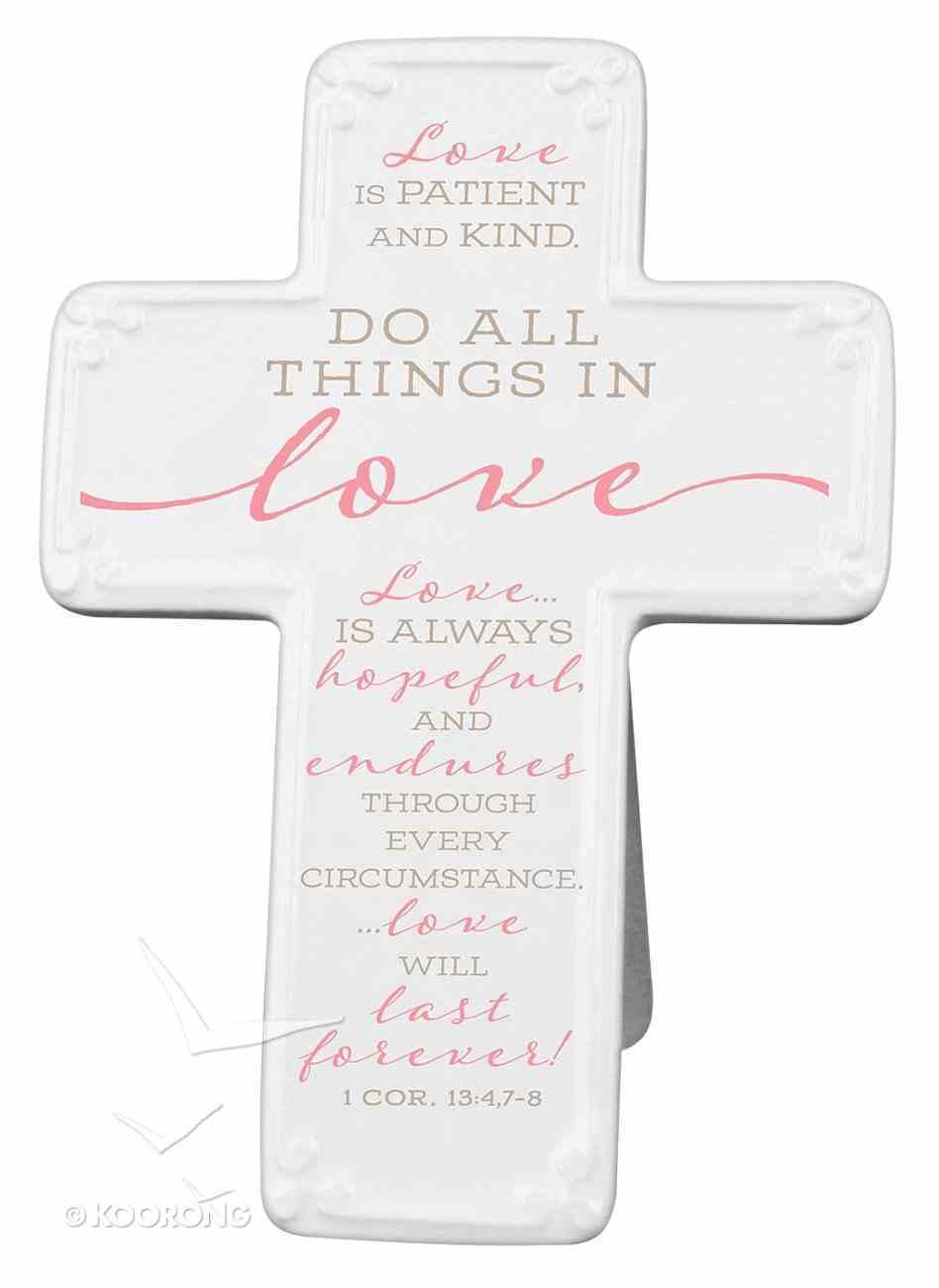 Ceramic Cross: Love, Pink/White (1 Cor 13:4,7-8) Homeware
