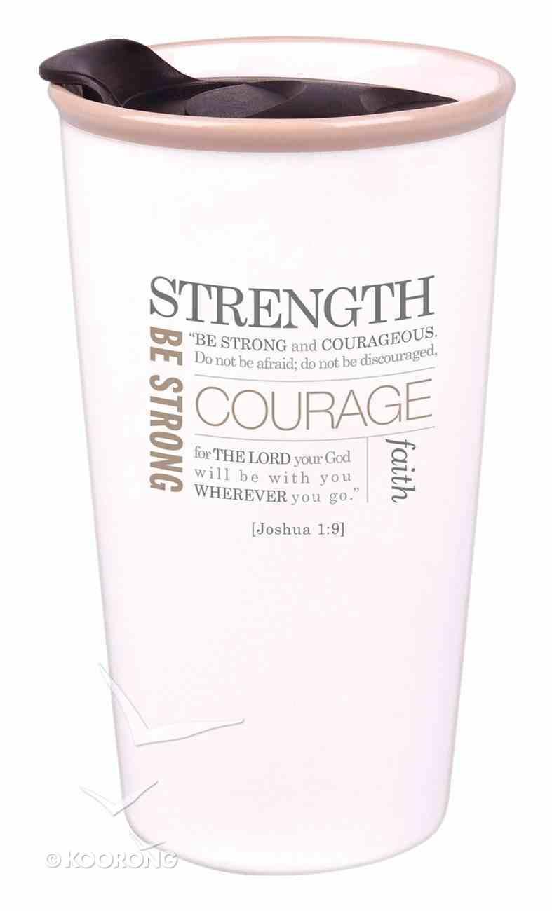 Ceramic Tumbler Mug: Strength, Cream (Joshua 1:9) Homeware
