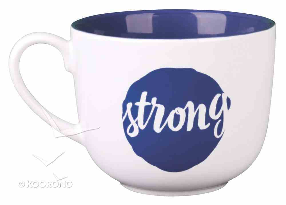 Ceramic Mug/Bowl: Strong, Dark Blue, Large (Psalm 27:14) Homeware