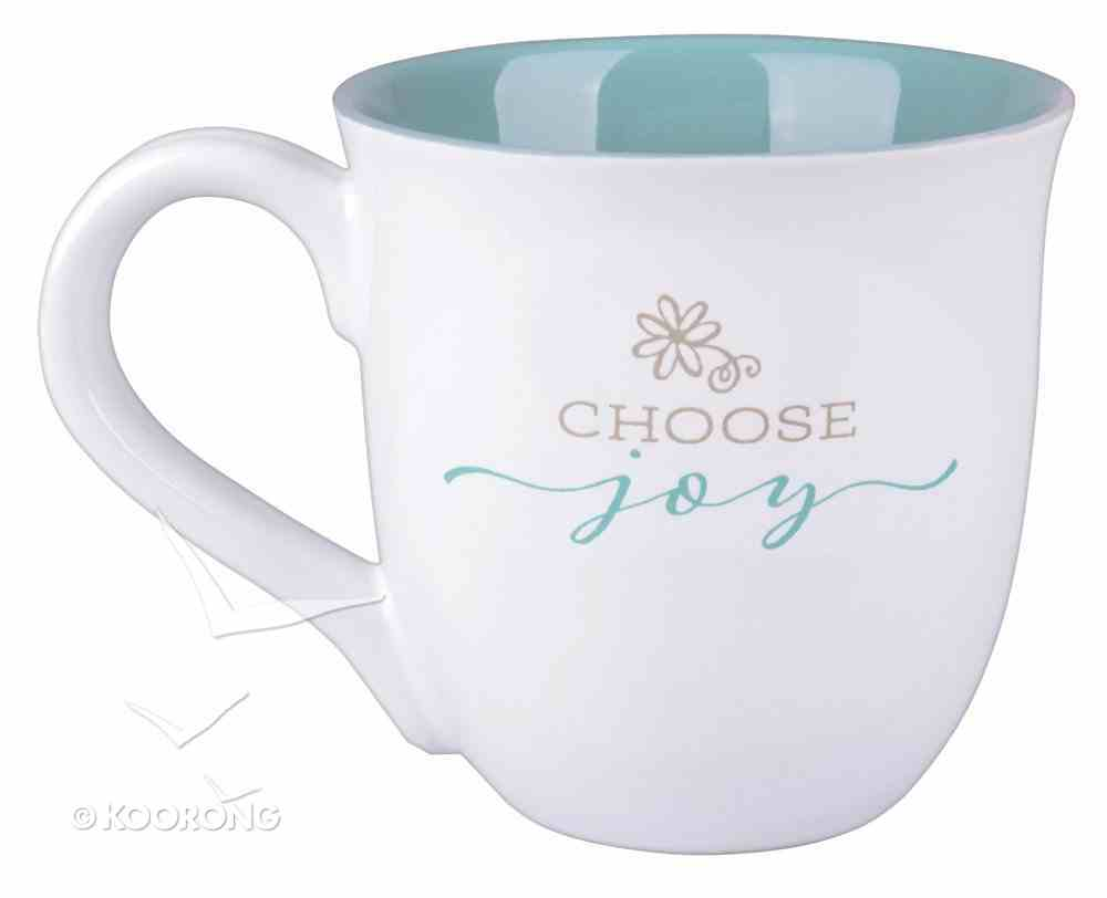 Ceramic Mug: Choose Joy, Light Blue/White (James 1:2 & Heb 12:2) Homeware