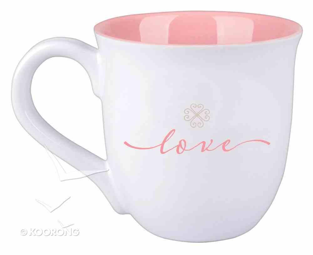 Ceramic Mug: Love, Pink/White (1 Cor 13:13) Homeware