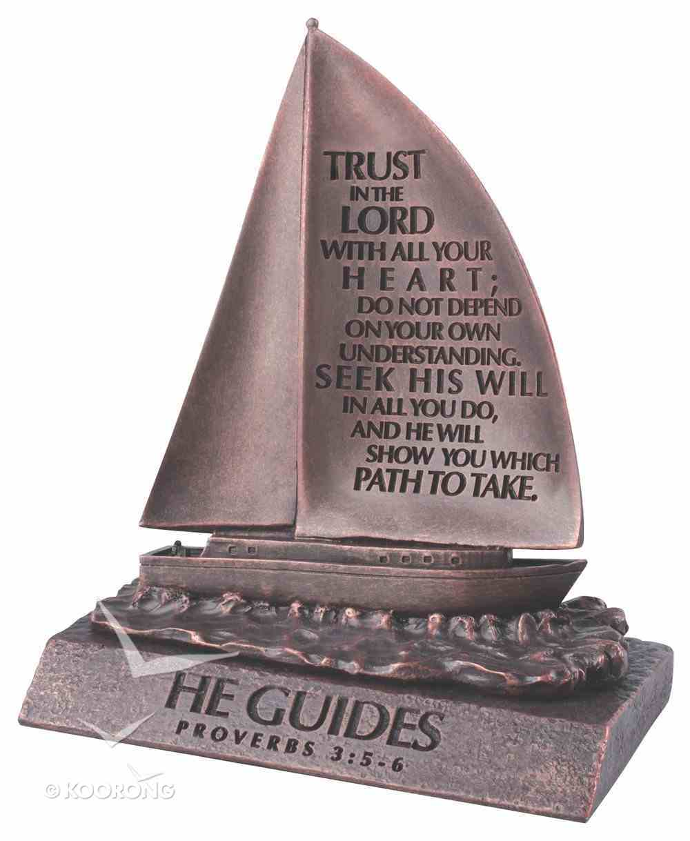 Moment of Faith Small Bronze Sculpture: He Guides Sailboat Cast Stone (Prov 3:5-6) Plaque