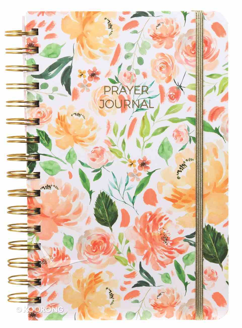 Prayer Journal: One Year Weekly Layout (Peach Floral) Spiral