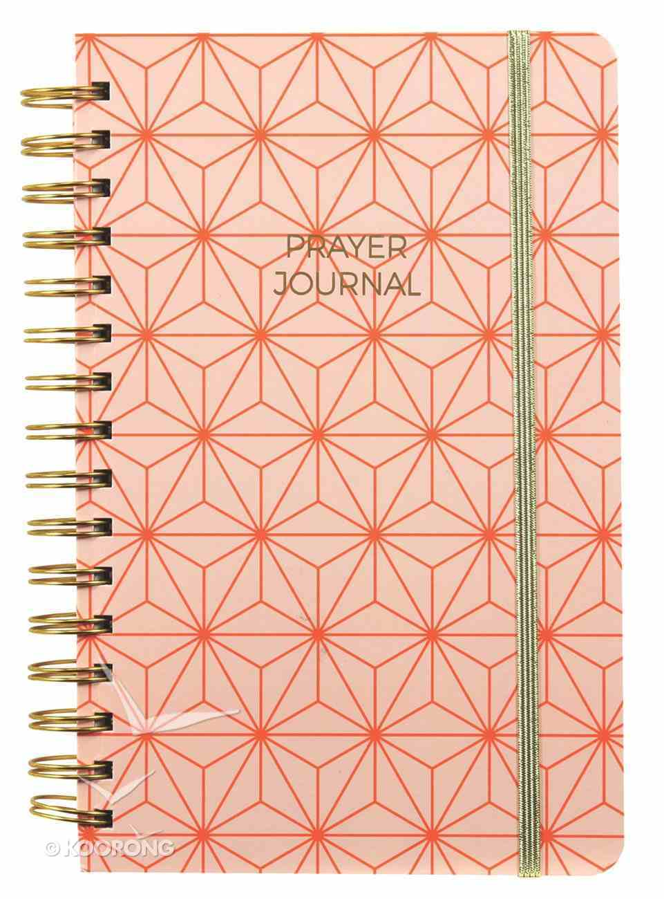 Prayer Journal: One Year Weekly Layout (Orange Geometric Design) Spiral