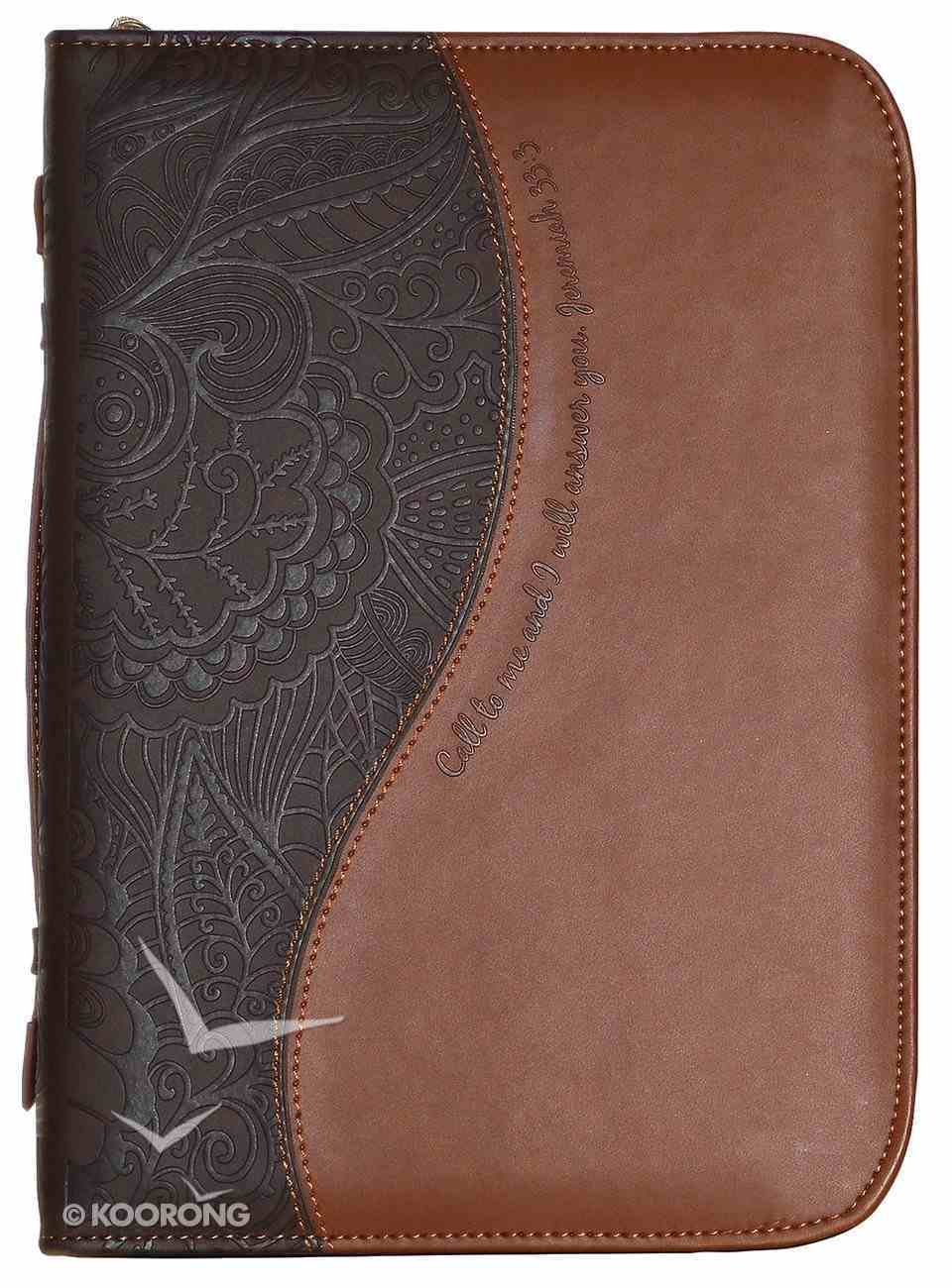 Bible Cover Divine Details: Large, Dark Brown/Tan, Jer 33:3 Bible Cover