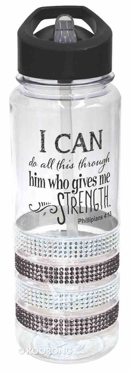 Plastic Water Bottle With Integrated Straw: I Can Do, Phillipians 4:13 Homeware