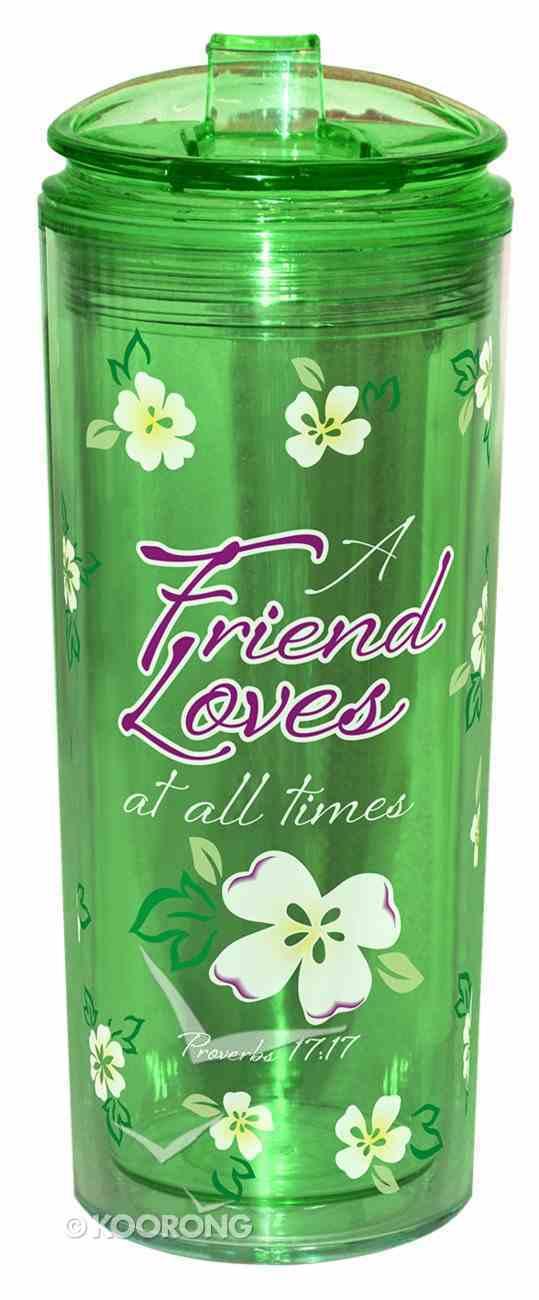 Flip Top Tumbler: A Friend Loves At All Times...Green (Proverbs 17:17) Homeware