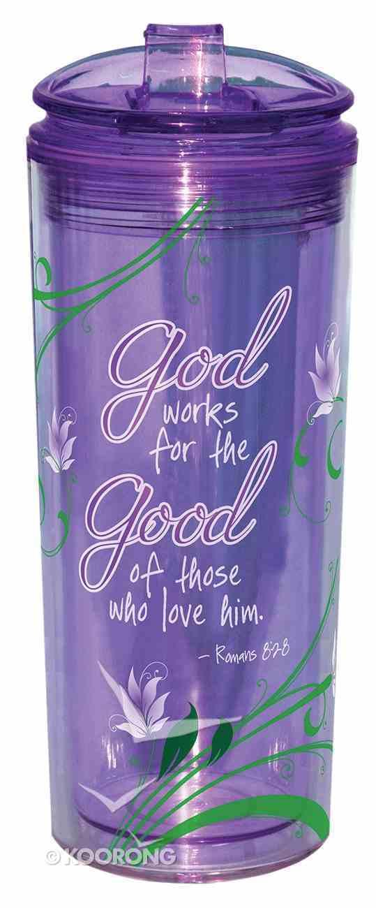 Flip Top Tumblers: God Works For the Good.... Purple (Romans 8:28) Homeware