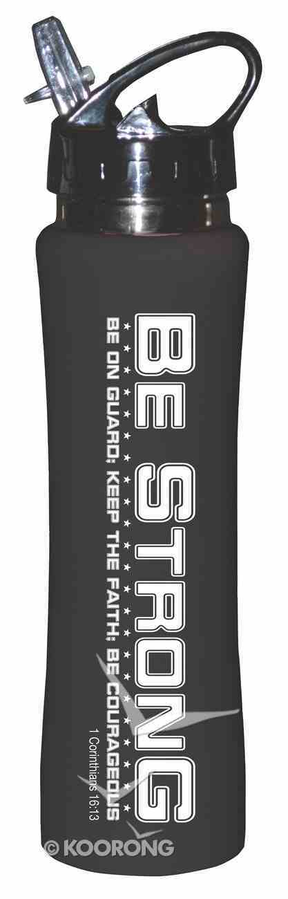 Rubberized Sports Thermos Bottle: Be Strong (Black) Homeware