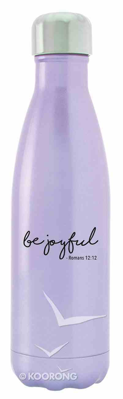 Water Bottle 590ml Stainless Steel Vacuum Sealed: Metallic Violet, Be Joyful Romans 12:12 Homeware