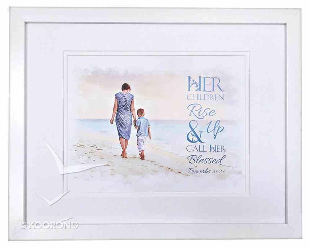Medium Framed Print: Her Children Rise Up, Boy, Proverbs 31:28 Plaque