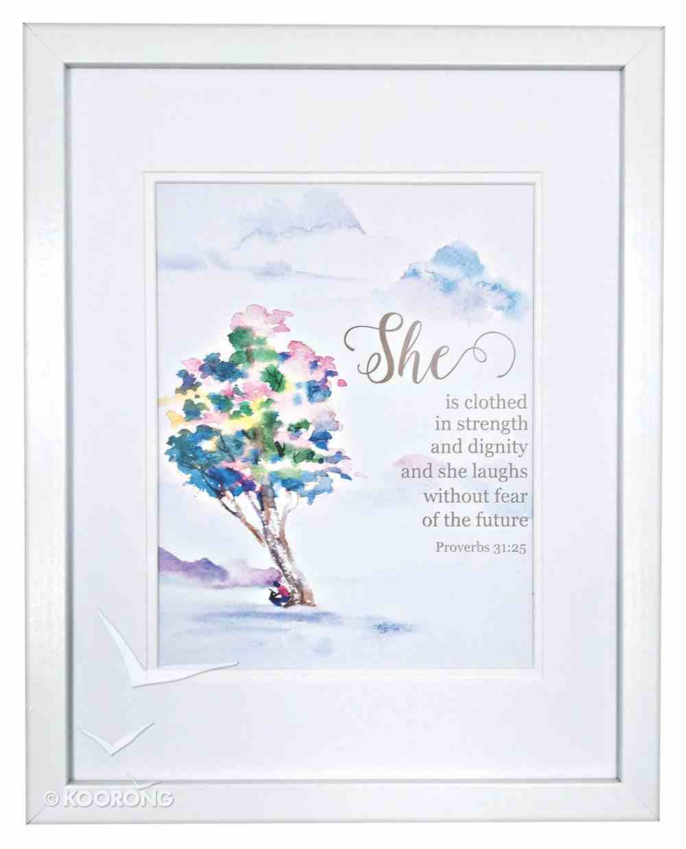 Medium Framed Print: She is Clothed, Watercolour Tree, Proverbs 31:25 Plaque