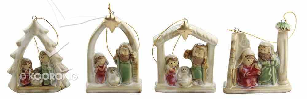Porcelain Nativity Colour Glazed 4 Piece Ornament Set Homeware