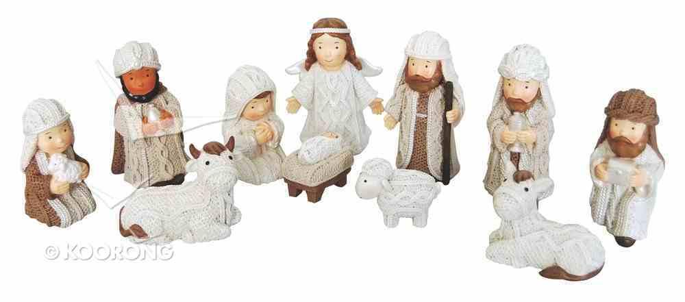 Resin Knitted Finish Childrens 11 Piece Nativity Set Cream Homeware
