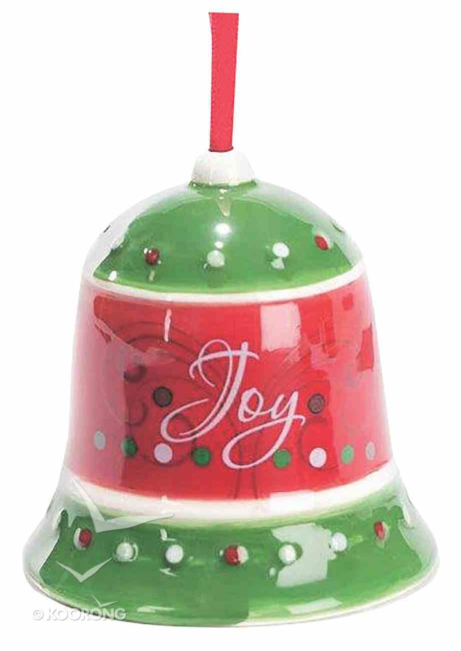Dolomite Bell Tree Ornament: Joy, Green & Red Homeware
