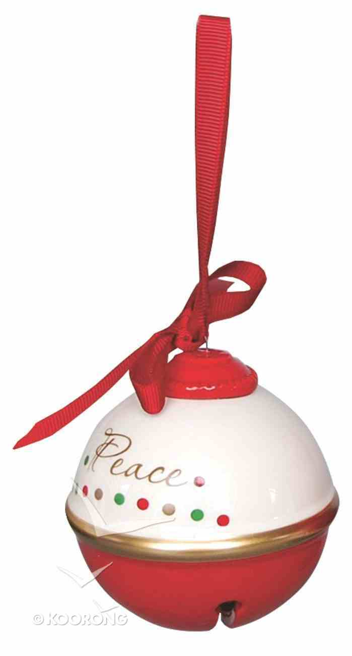 Dolomite Round Bell Tree Ornament: Peace, White & Red Homeware