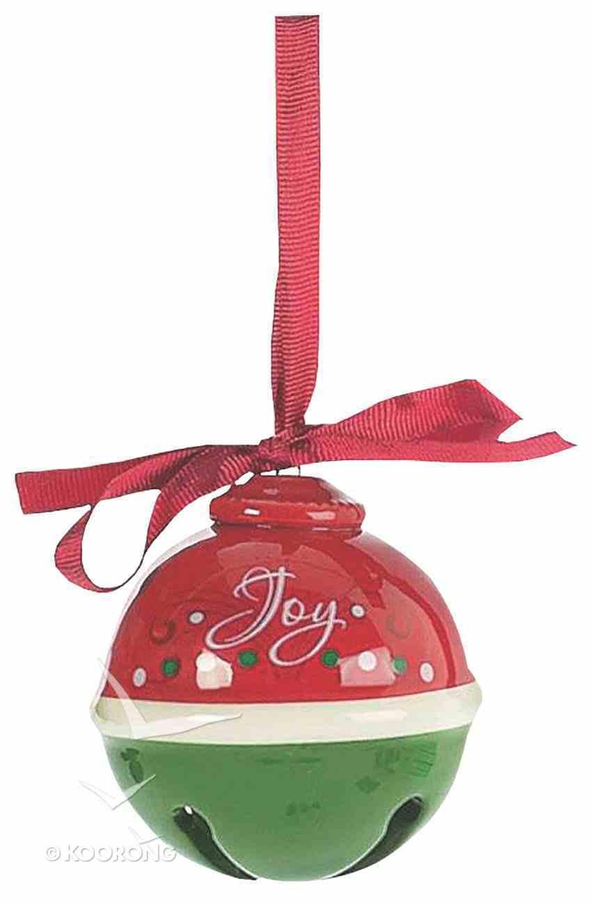 Dolomite Round Bell Tree Ornament: Joy, Red & Green Homeware