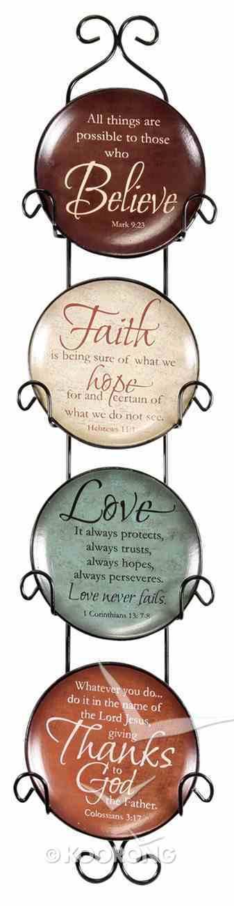 Ceramic Plates With Rack Set of 4: Believe, Faith, Love & Thanks Homeware