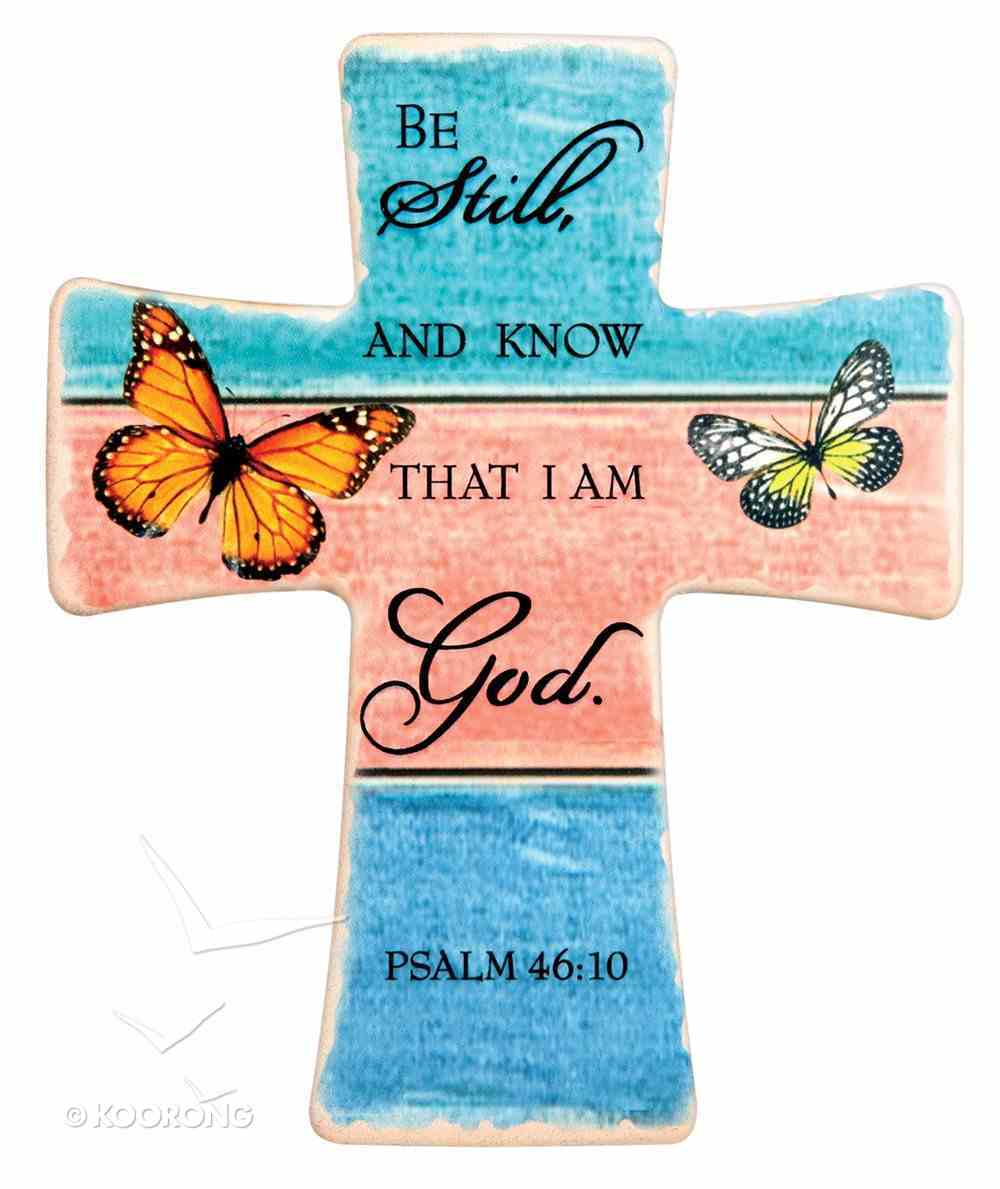 Ceramic Cross Wall Plaque: Be Still and Know... Orange Butterfly (Psalm 46:10) Plaque