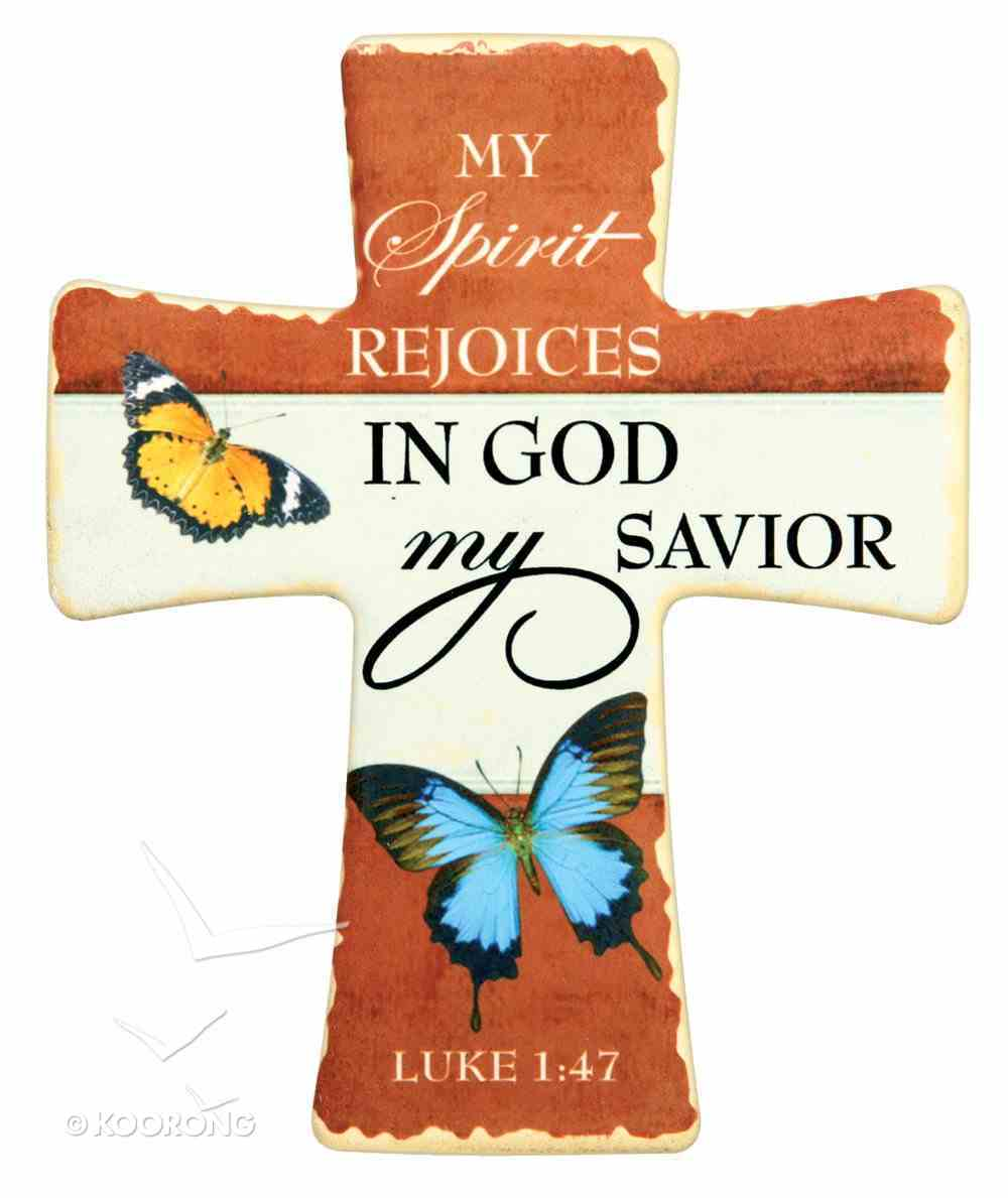 Ceramic Cross Wall Plaque: My Spirit Rejoices... Blue Butterfly (Luke 1:47) Plaque