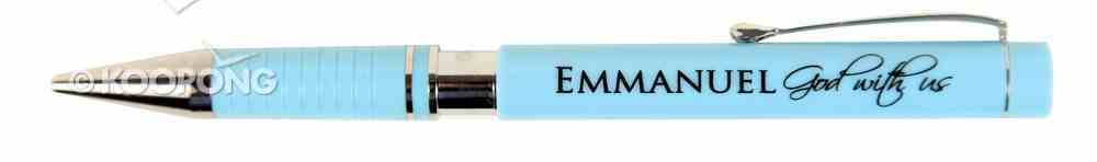 Ballpoint Pen Blue in Metal Box: Emmanuel God With Us Stationery