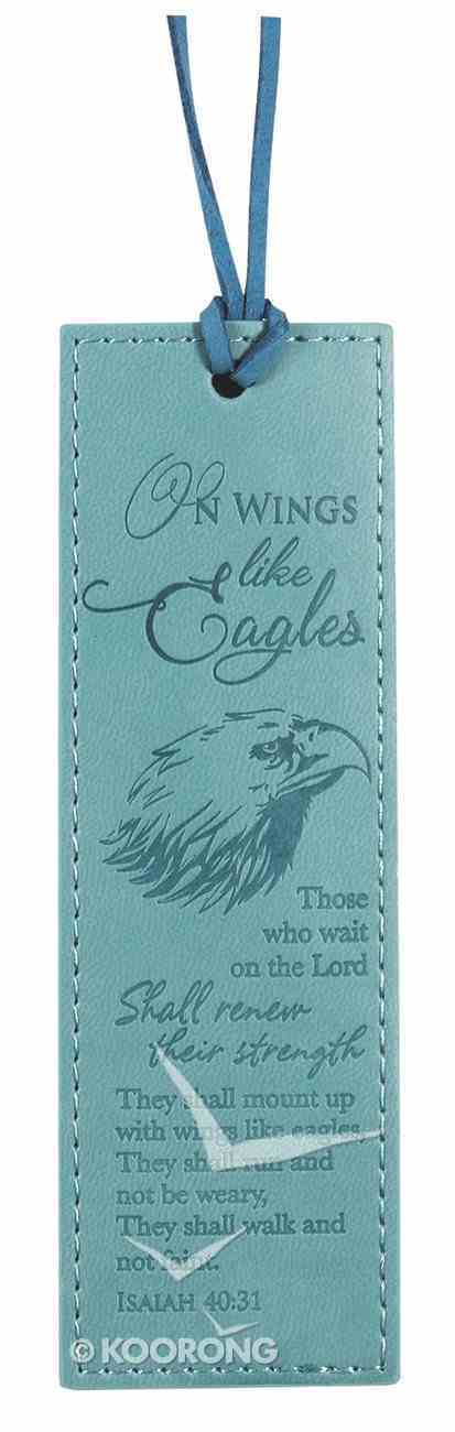Bookmark Leather Lux: On Wings Like Eagles, Turquoise Stationery
