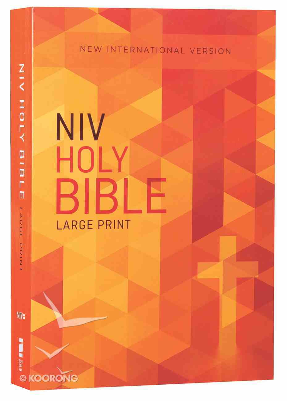 NIV Outreach Bible Large Print Orange Cross (Black Letter Edition) Paperback