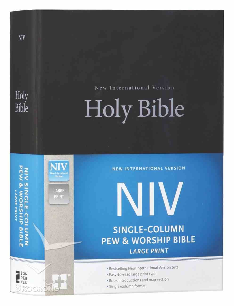 NIV Single-Column Pew and Worship Bible Large Print Black (Black Letter Edition) Hardback