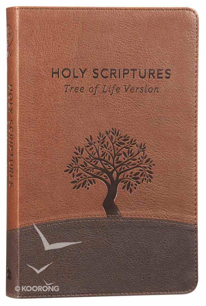 Tlv Thinline Bible Holy Scriptures Walnut/Brown Tree Design Duravella Imitation Leather