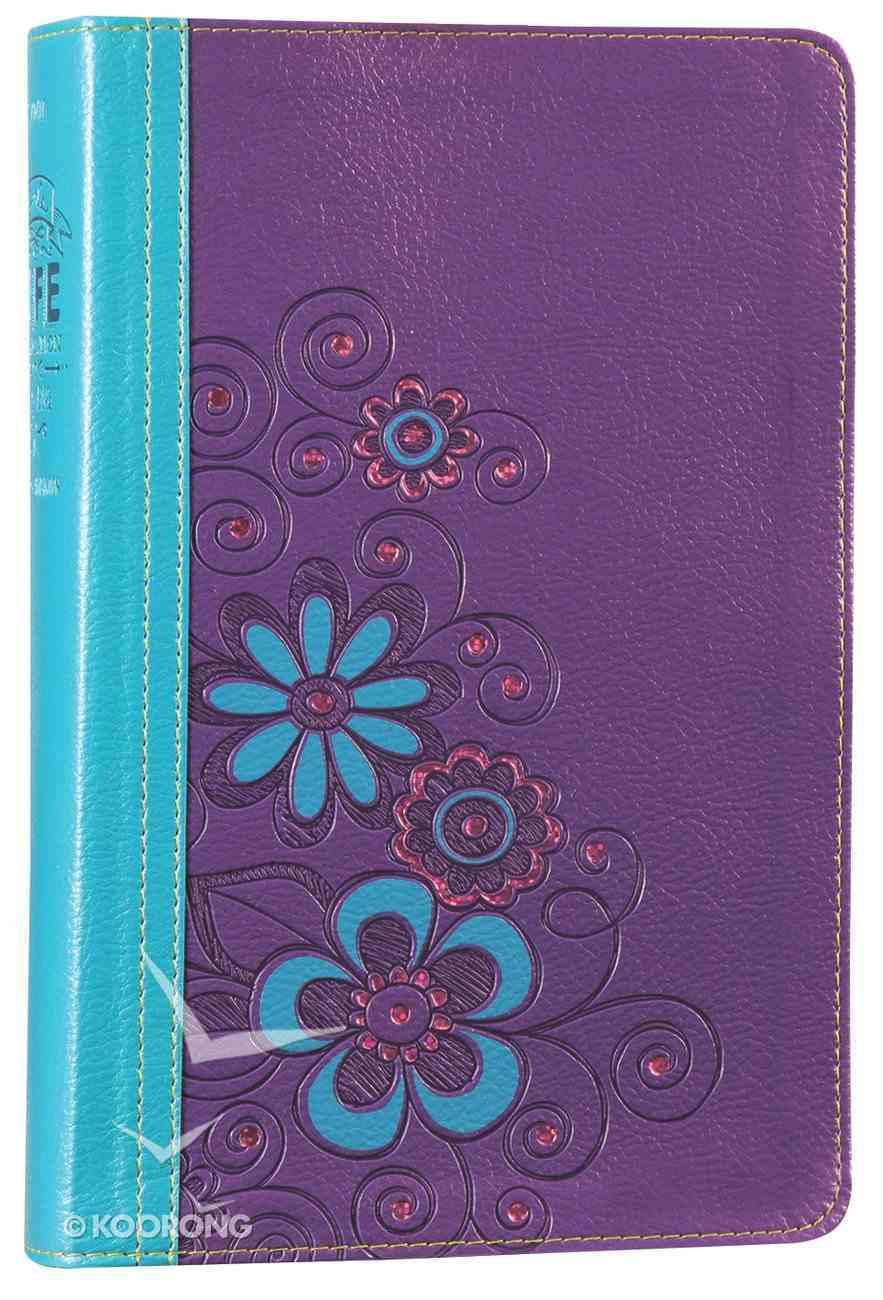 NLT Girls Life Application Study Bible Blue/Purple Flower (Black Letter Edition) Imitation Leather