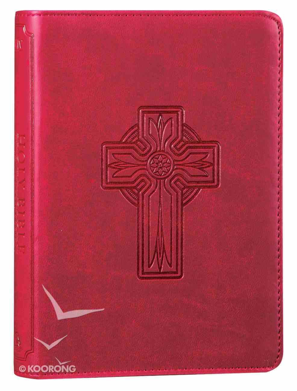 KJV Pocket Bible Berry With Cross Imitation Leather