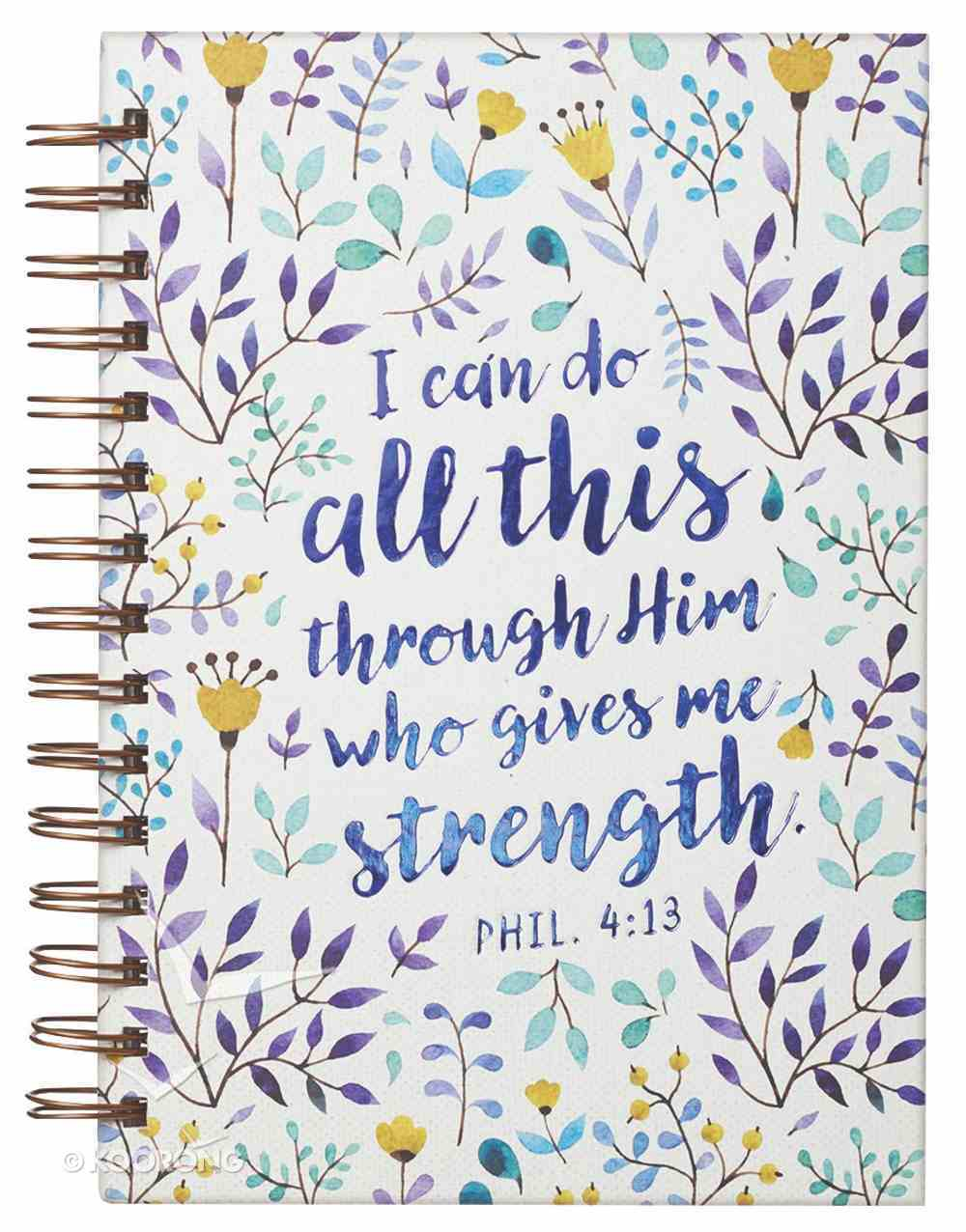Journal: I Can Do All This Through Him Purple/Floral (Phil 4:13) Spiral