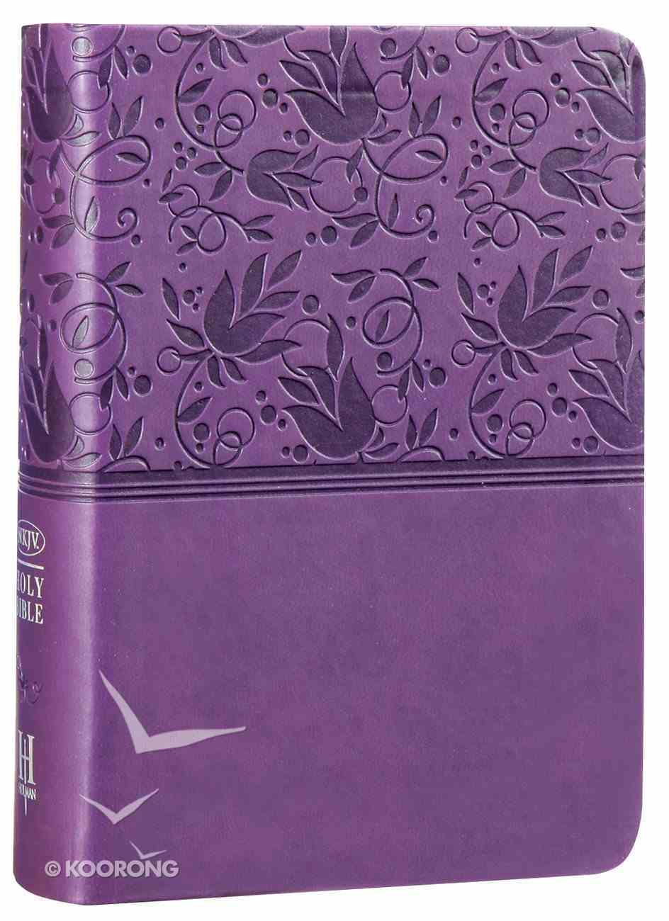 NKJV Large Print Compact Reference Bible Purple Premium Imitation Leather