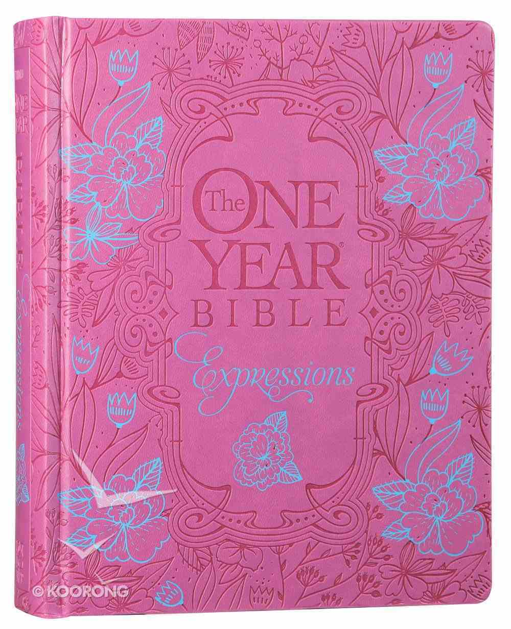 NLT One Year Bible Expressions Pink Flower Deluxe (Black Letter Edition) Imitation Leather Over Hardback