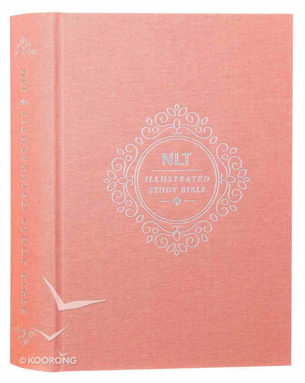 NLT Illustrated Study Bible Deluxe Linen Blush Rose (Black Letter Edition) Hardback