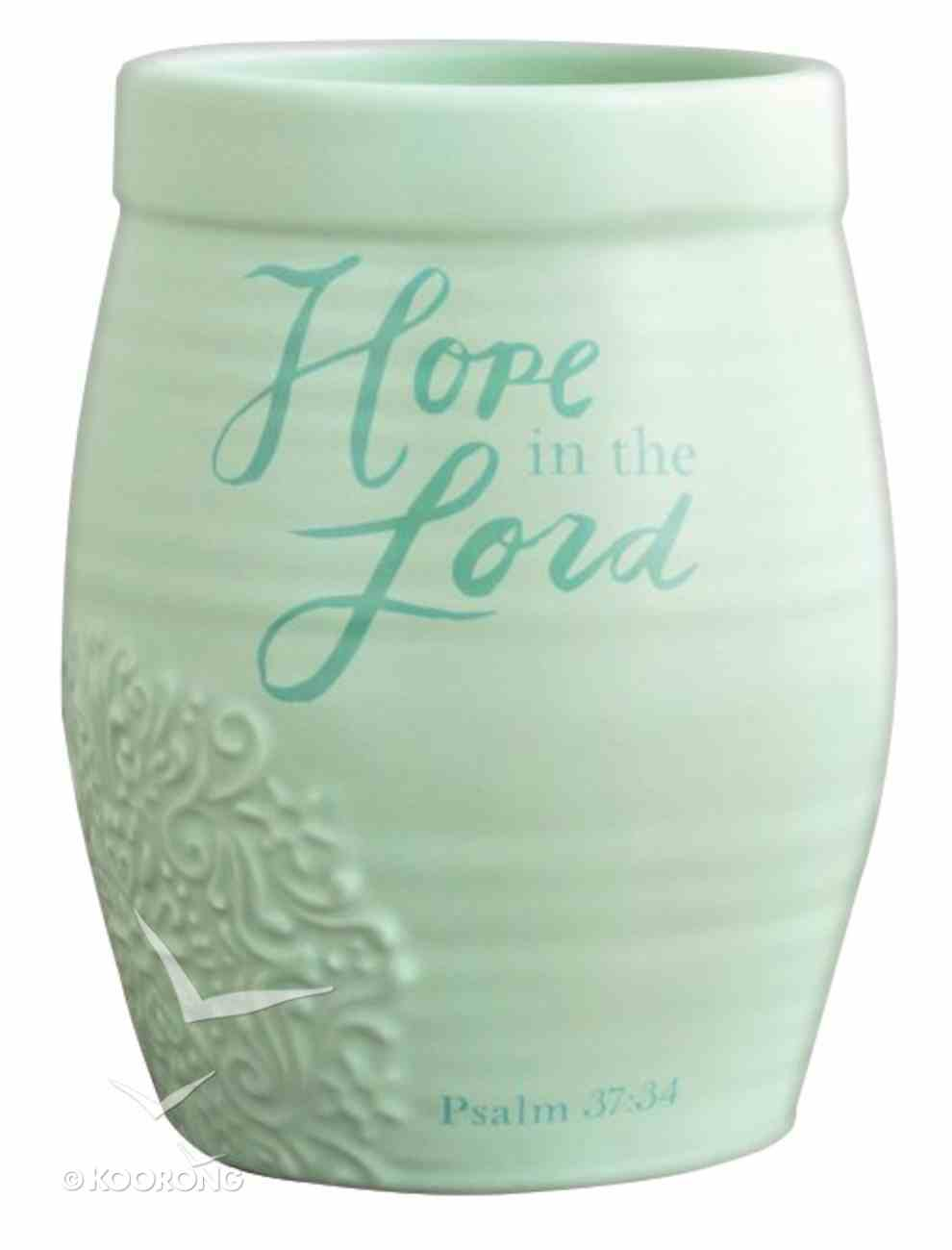 Ceramic Stoneware Vase: Hope in the Lord Mint Green (Psalm 37:34) Homeware