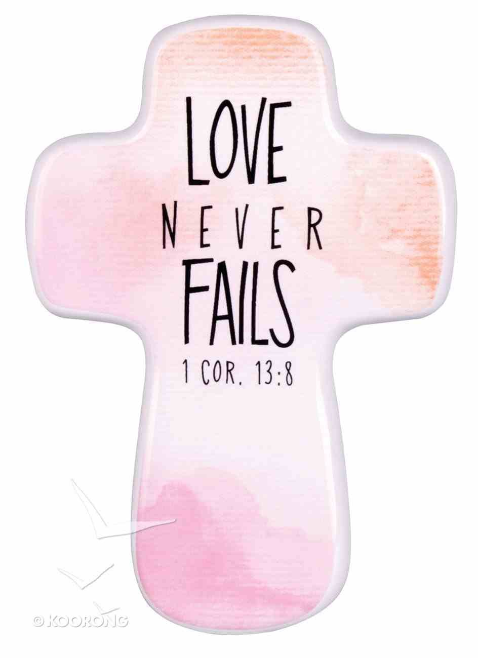 Ceramic Cross: Love Never Fails, Watercolor Script, (1 Cor 13:8) Homeware