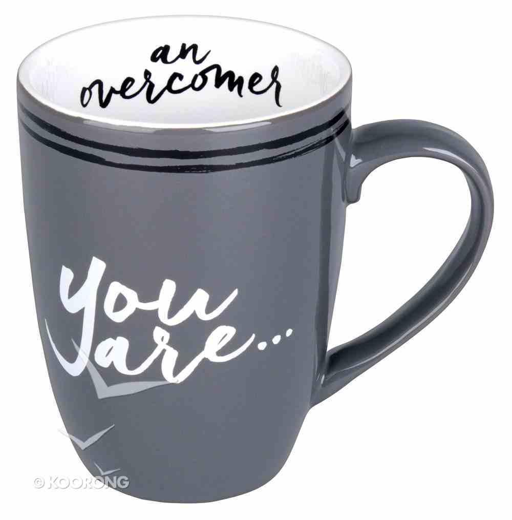 Ceramic Mug: You Are An Overcomer Gray/White (Phil 4:13) Homeware