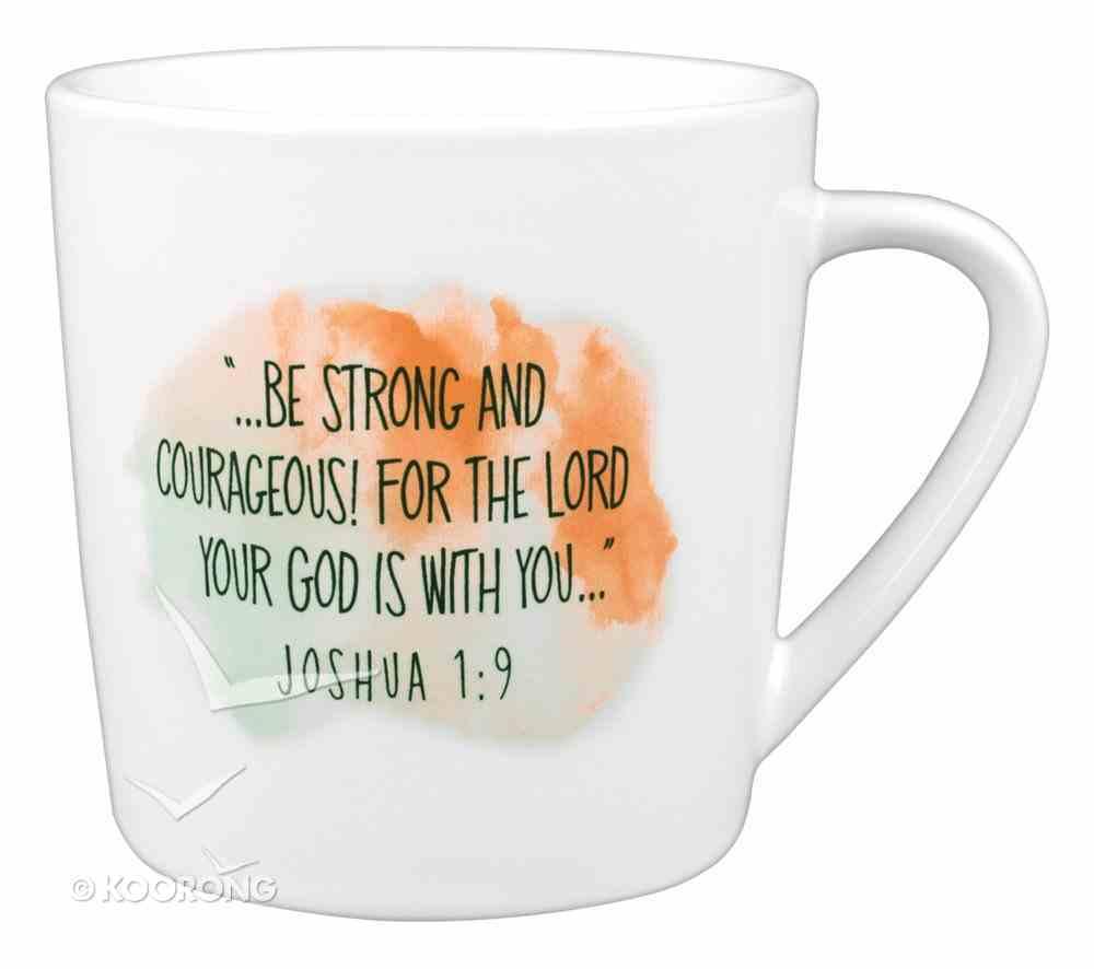 Ceramic Mug: Brave & Strong, Watercolor Script (Joshua 1:9) Homeware