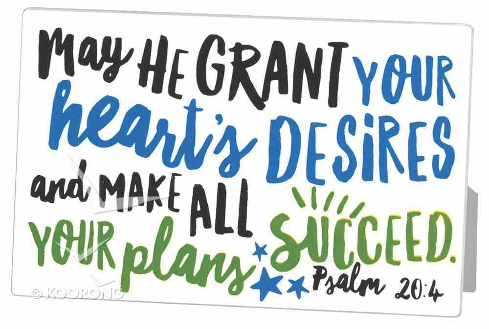 Metal Mdf Plaque: May He Grant Your Heart's Desire, White Graduate Success (Psalm 20:4) Plaque