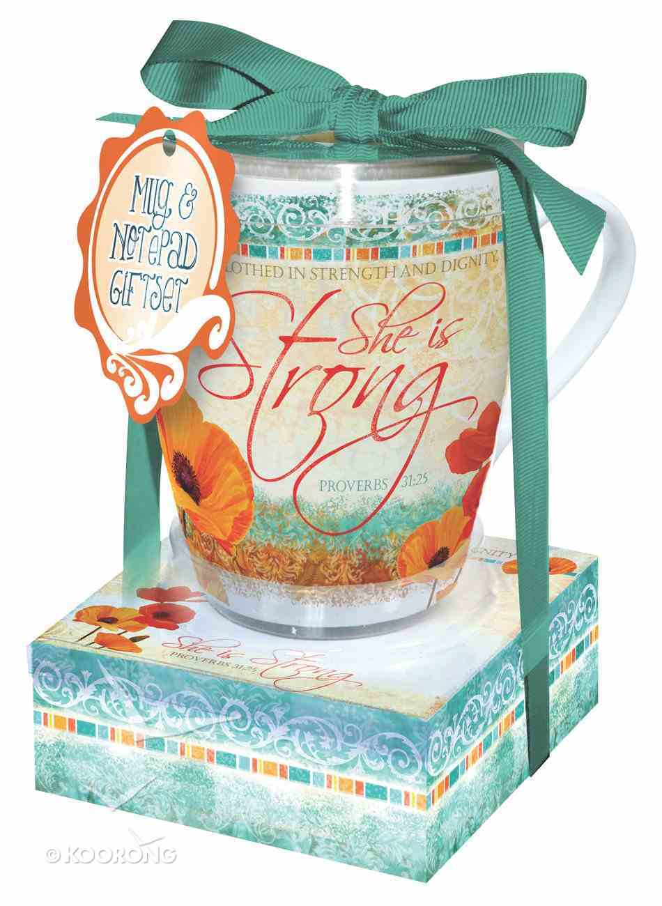 Poppies: Mug & Notepad Giftset, She is Strong Pack